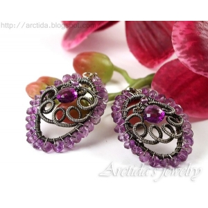 Amethyst earrings ornate oxidized sterling silver - Niolle