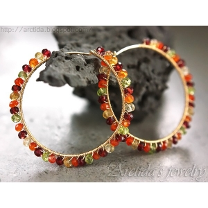 Gemstone hoops Carnelian Citrine Garnet Peridot hoop earrings