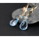 Akvamarin Blå Topas örhängen äkta 14K guld - Calypso