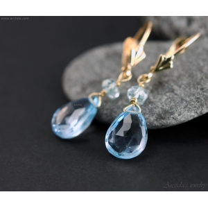 Aquamarine Sky Blue Topaz earrings 14K solid gold - Calypso