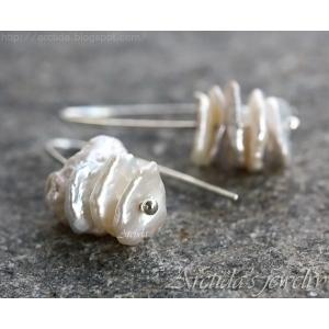 Argentium sterling silver Keishi pärlor örhängen - Leia