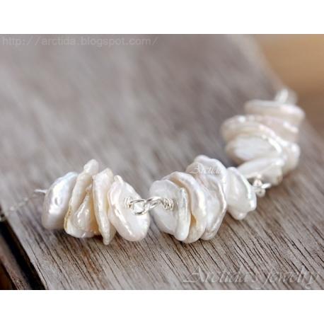 Keishi pärlor halsband sterling silver bröllopssmycke - Leia