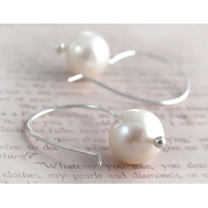 Pearl earrings Argentium sterling silver Bridal earrings - Anna