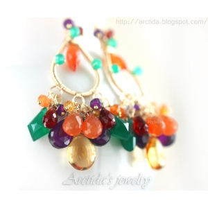 Amethyst Carnelian Citrine Garnet green Agate earrings - Oksana