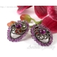 Amethyst earrings ornate oxidized sterling silver - Niolle