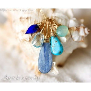 Blue necklace Turquoise mint blue gemstones gold filled - Maera