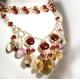 Garnet Citrine golden Rutilated Quartz gold necklace - Aurora
