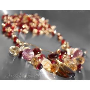 Rökkvarts Citrin Granat Rutilkvarts guld halsband - Aurora