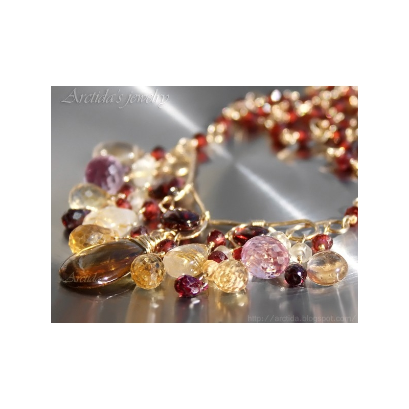 Garnet citrine golden rutilated quartz gold necklace for Golden rutilated quartz jewelry