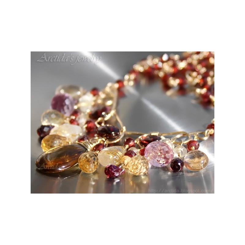 Garnet citrine golden rutilated quartz gold necklace for Golden rutilated quartz jewelry