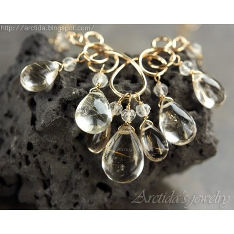 Golden Rutilated Quartz necklace 14K gold filled - Harmonia