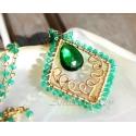 Grön Agat och grön Kvarts 14K gold filled halsband - Adeola