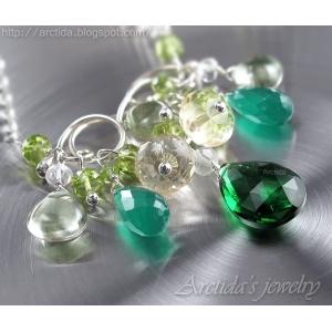 Grön halsband smaragd gröna stenar sterling silver - Harmonia