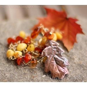 Eklöv Bärnsten Citrin Granat Karneol Pyrit guld halsband