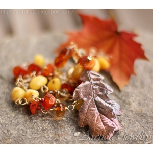 Oak leaf Amber Carnelian Citrine Garnet Pyrite gold necklace
