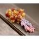 Oak leaf Amber Carnelian Citrine Garnet Pyrite gold necklace