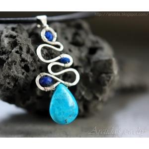 Turkos Lapis lazuli halsband sterling silver läderband - Galene