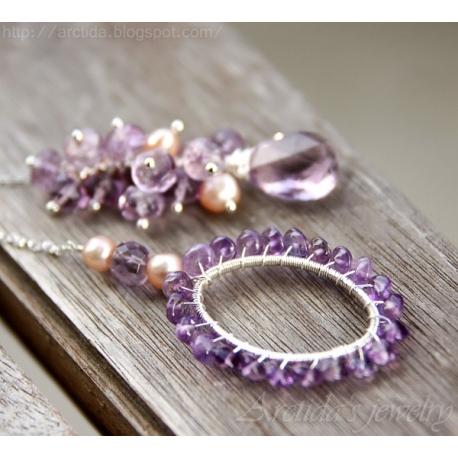 Ametist halsband sötvattenspärlor sterling silver - Violante