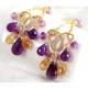 Chandelier earrings Citrine Amethyst gold earrings - Domani