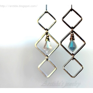 Labradorite earrings oxidized sterling silver - Asteria