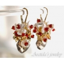 Garnet earrings Red Garnet Citrine Smoky Quartz Keshi pearl earrings Gold cluster earrings Smoky Quartz earrings - Lanlea