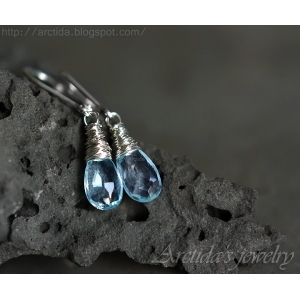Blue Topaz earrings wire wrapped sterling silver - Nimue