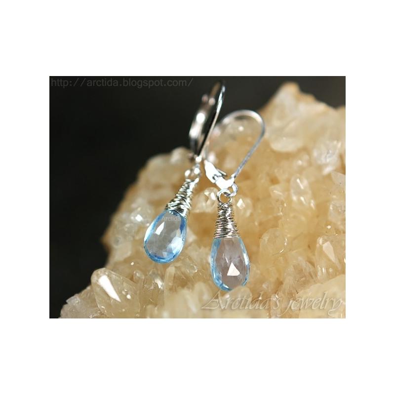 Blue Topaz Earrings Wire Wrapped Sterling Silver Nimue