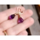 Purple Amethyst earrings wire wrapped 14K Gold filled - Anya