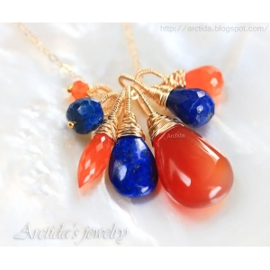 Carnelian Lapis lazuli necklace 14K gold filled - Lyrelle
