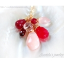 Garnet Pink Opal Red Chalcedony Rose Quartz Ruby necklace - Aine