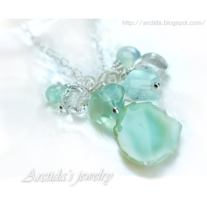 Mint necklace mint green Agate Fluorite aqua blue Chalcedony sterling silver - Gelida