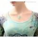 Mint necklace mint green Agate Fluorite aqua blue Chalcedony sterling silver - Gelida