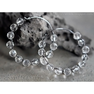 Gemstone hoops Rock Crystal Clear Quartz hoop earrings - Electra