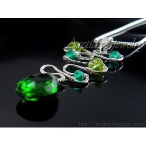 Green Agate green Quartz Peridot necklace sterling silver - Mona