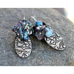 PMC silversmycke finsilver örhängen med Keishi pärlor - Odaia