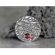 Fine silver jewelry PMC Ruby pendant on leather cord - Deliah