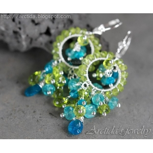 Apatite Peridot earrings sterling silver - Ituralde