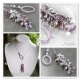 Lariat necklace Amethyst pearls sterling silver - Violante