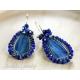 Kyanite Lapis lazuli earrings oxidized sterling silver - Marina