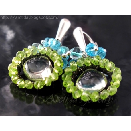 Apatite Peridot Prasiolite sky blue Topaz  earrings sterling silver - Maja