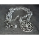 Pure silver 999 with Rock Crystal Clear Quartz necklace and earrings set.