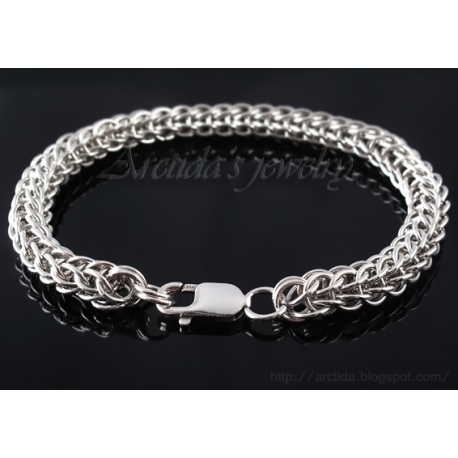 Chainmaille mens bracelet sterling silver Full Persian