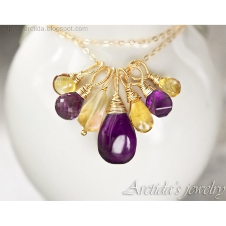 Citrine Amethyst necklace 14K gold filled - Chloe