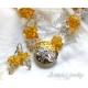 Ice and Fire - Bärnsten Bergkristall silver guld halsband örhänge set.