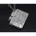 Book pendant fine silver locket necklace PMC