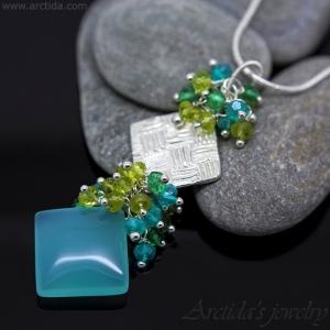 Square gemstone necklace Apatite Chalcedony Peridot green Quartz fine silver - Velina