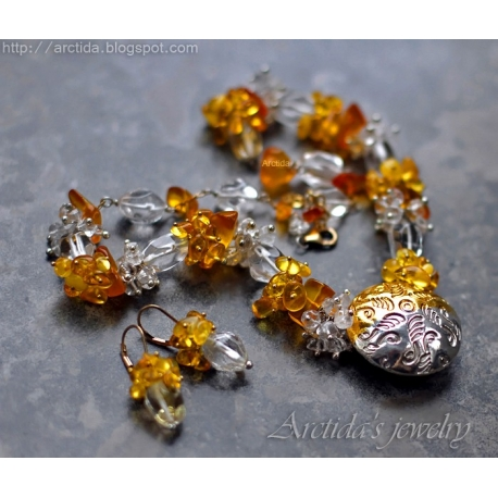 Ice and Fire - Amber Rock Crystal Clear Quartz silver gold necklace and earrings set.
