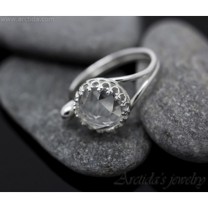 Rock Crystal Quartz open ring Argentium sterling silver cocktail ring – Elsie