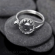 Rock Crystal Quartz open ring Argentium sterling silver cocktail ring – Elsie