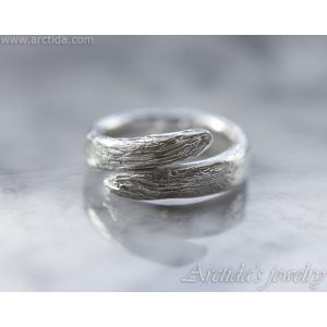 Tree Bark Ring textured band sterling silver 960 - Karya